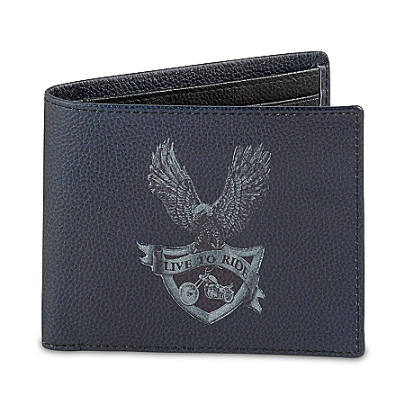 Live To Ride Men's RFID Blocking Leather Wallet 124706001