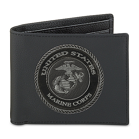 USMC Men's RFID Blocking Leather Wallet