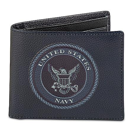 U.S. Navy Men's RFID Blocking Leather Wallet