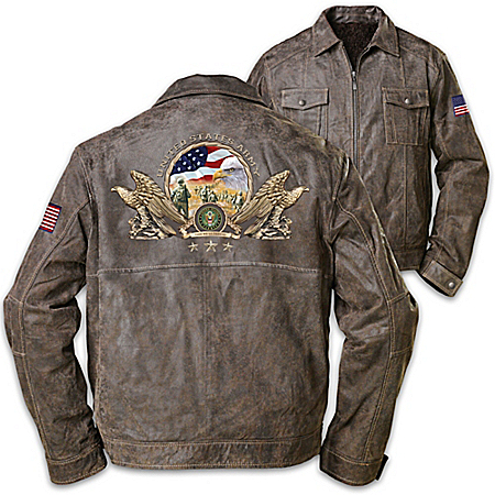 U.S. Army Men's Brown Leather Jacket