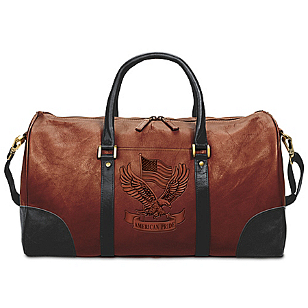 American Pride Embossed Leather Duffel Bag