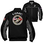 USMC Semper Fi Spirit Salute Personalized Men's Black Jacket