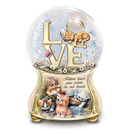 Jurgen Scholz Kittens Leave Pawprints On Our Hearts Musical Glitter Globe