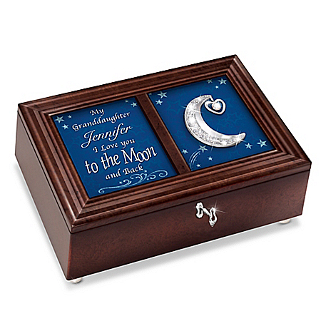 Granddaughter, I Love You To the Moon Personalized Music Box
