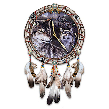 Mystic Call Native American-Inspired Dreamcatcher Wolf Wall Clock