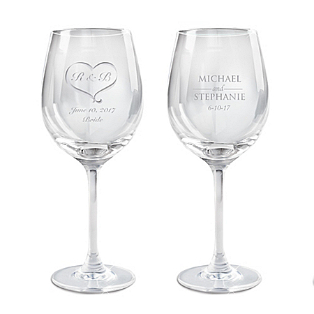 Personalized Wedding Wine Glass Set