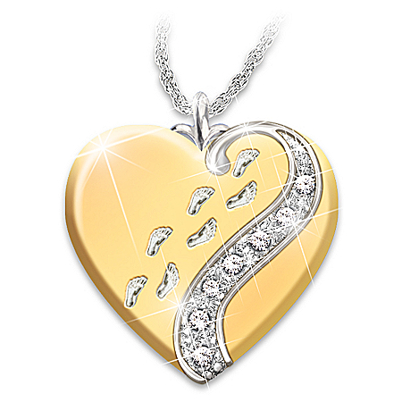 Footprints In The Sand Daughter Heart Pendant Necklace
