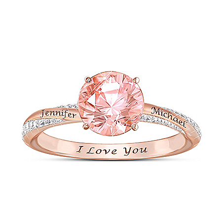Blush Of Romance Personalized 18K Gold-Plated Ring – Personalized Jewelry
