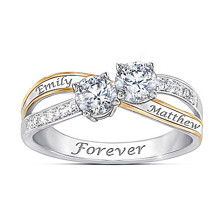 Together In Love Personalized Two Stone Topaz Ring