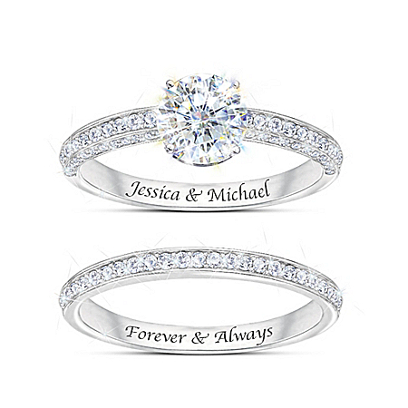 Forever Love Personalized Diamonesk Bridal Ring Set – Personalized Jewelry
