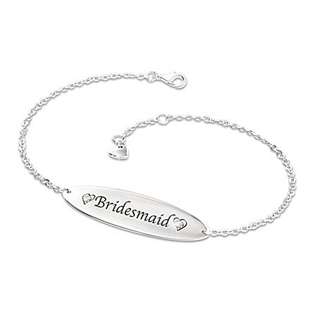Women's Name Bar ID Style Personalized Diamond Bracelet