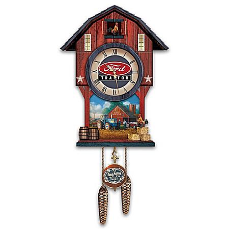 Ford Tractor Barn-Shaped Cuckoo Clock
