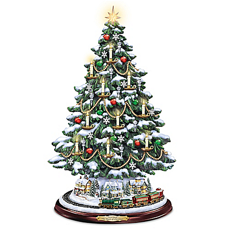 Thomas Kinkade Candlelit Tabletop Tree with Lights and Music and Rotating Train