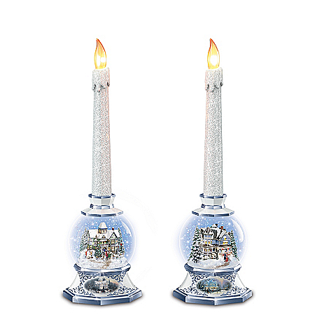 Thomas Kinkade Season Of Light Illuminated Snowglobe Candleholder Set