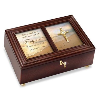 Bradford Exchange Footprints In The Sand 22K Gold-Plated Cross Heirloom