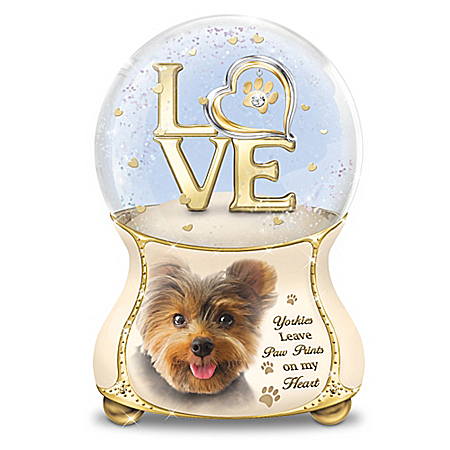 Yorkies Leave Paw Prints On My Heart Glitter Globe