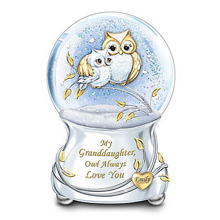 My Granddaughter, Owl Always Love You Personalized Glitter Globe