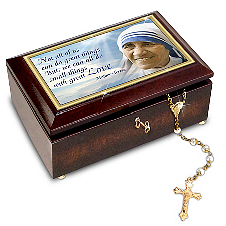 Blessed Mother Teresa Music Box And Golden Rosary
