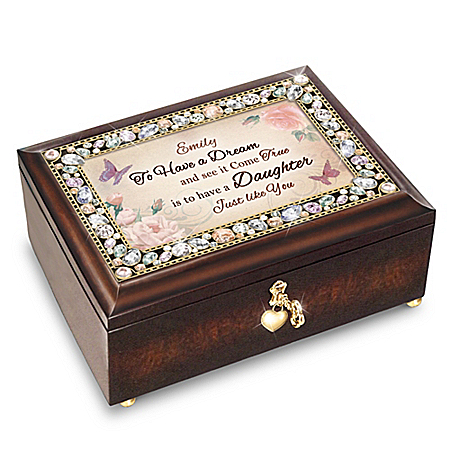 My Daughter, You're a Dream Come True Personalized Jeweled Music Box