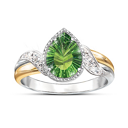 Radiant Treasure Green Helenite And Diamond Ring