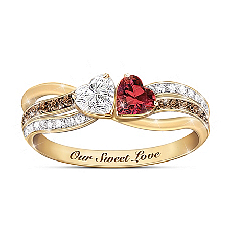 Our Sweet Love Mocha And White Diamond Garnet Ring