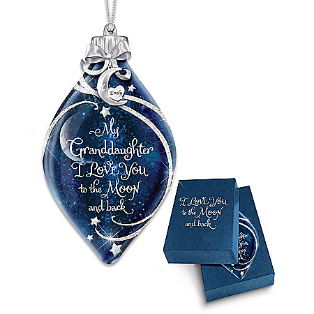 Granddaughter, I Love You To The Moon And Back Personalized Ornament: Blue And Silver