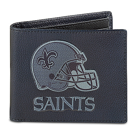 NFL New Orleans Saints Men's RFID Blocking Leather Wallet