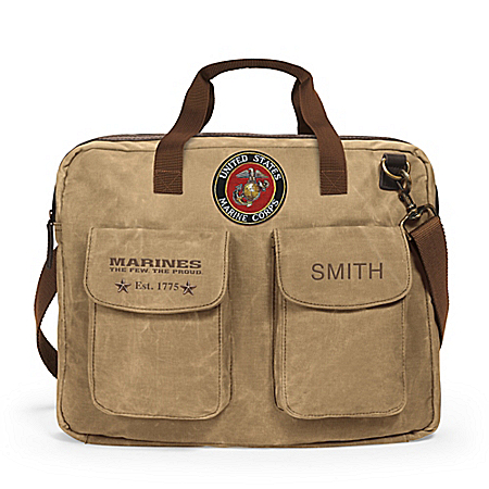 USMC Personalized Canvas Messenger Tote Bag