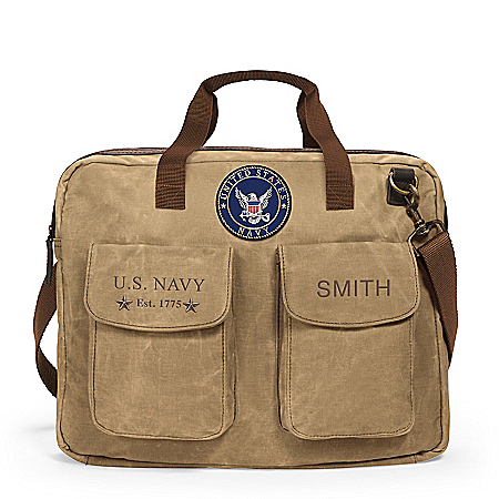 U.S. Navy Personalized Canvas Messenger Tote Bag