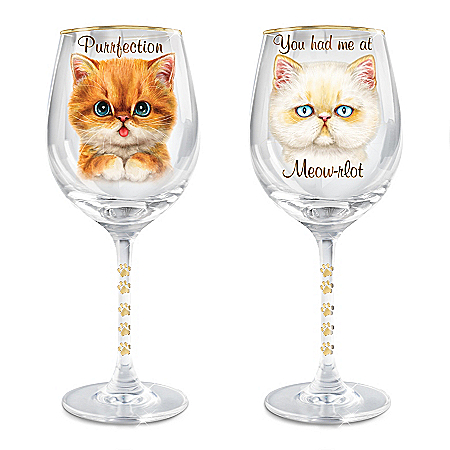 Paws-itvely Purrfect Cat Wine Glass Set