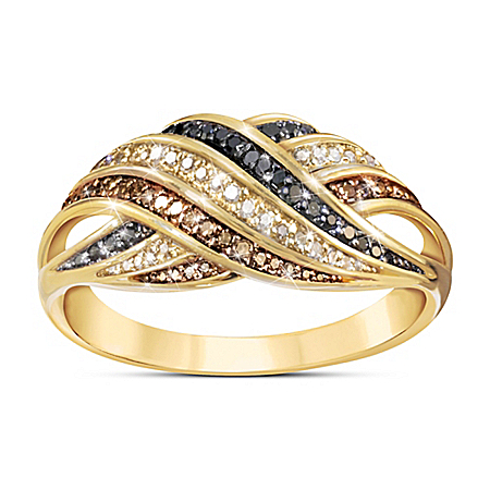 Bold Beauty Mocha, Black, And Champagne Colored Diamond Ring