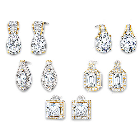 Touch Of Gold Simulated Diamond Earrings With 18K Gold-Plated Accents