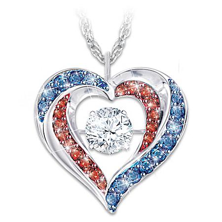 America The Beautiful Diamonesk Heart Pendant Necklace