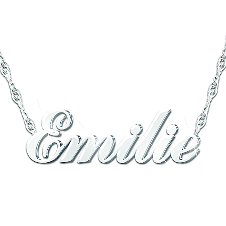 Sculpted Name Personalized Diamond Pendant Necklace