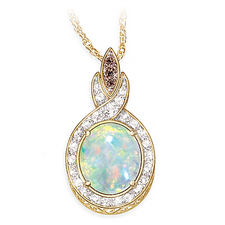 Queen of Gems Ethiopian Opal And Diamond Pendant Necklace