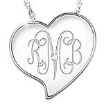 Monogram Heart Personalized Diamond Pendant Necklace
