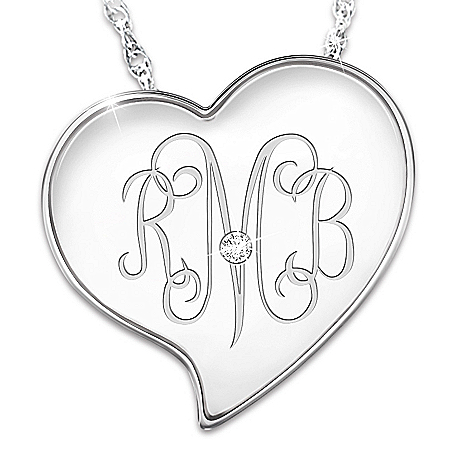 Monogram Heart Personalized Diamond Pendant Necklace