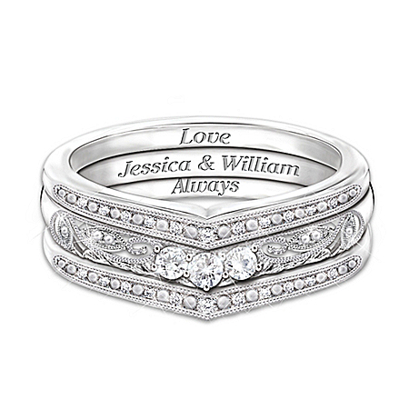 Handcrafted Sterling Silver Love Always Sapphire Stacking Personalized Rings – Personalized Jewelry