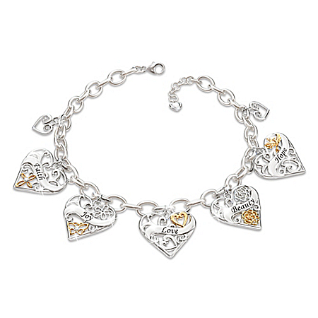 Loving Wishes For My Daughter 18K Gold-Plated Heart Charm Bracelet
