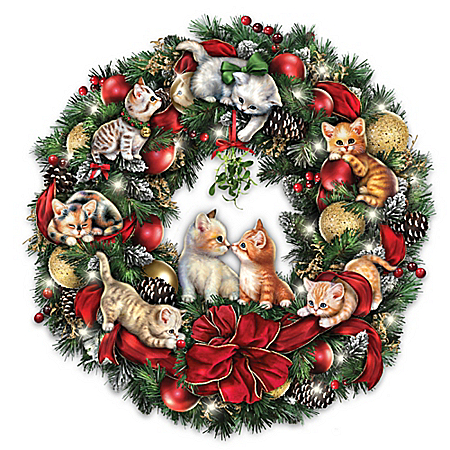 Merry Mischief Makers Illuminated Always In Bloom Wreath With Kittens