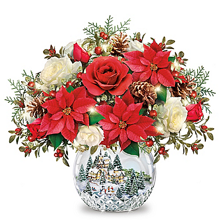 Thomas Kinkade Holiday Village Always in Bloom Table Centerpiece Lights Up