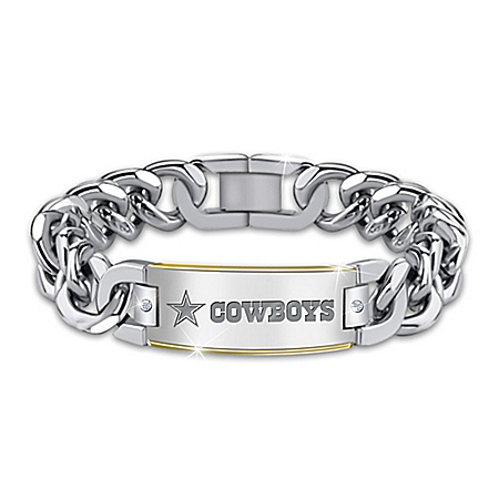 Cowboys Diamond Personalized Stainless Steel Bracelet