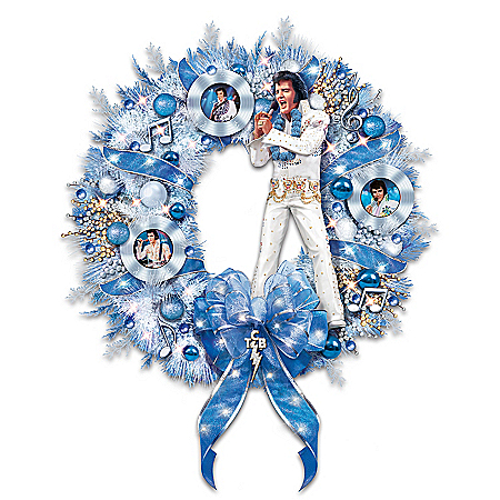 It's A True Blue Elvis Presley Inspired Christmas Wreath
