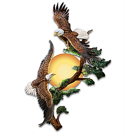 Soaring Sunrise Eagle Illuminated Sconce Wall Decor