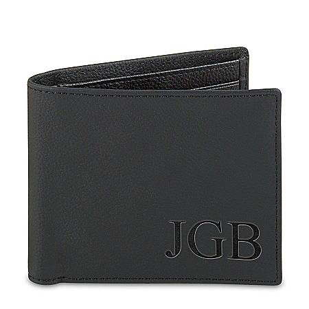 Forever My Grandson Personalized Men's RFID Blocking Leather Wallet