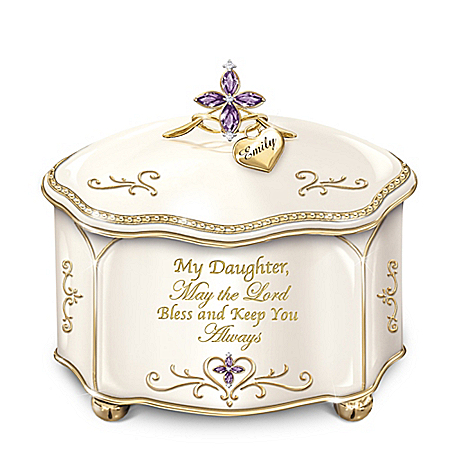 Daughter Religious Personalized Porcelain Music Box: Bradford Exchange