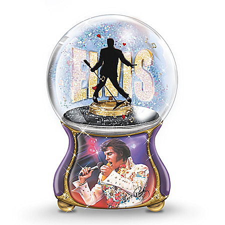 The Bradford Exchange Online - Elvis Presley: Burning Love Musical Glitter Globe Photo