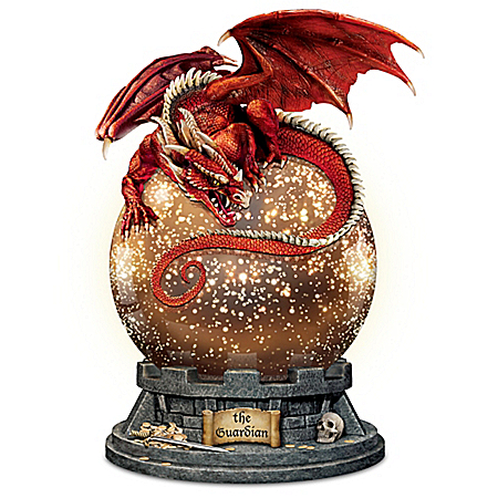 The Guardian Illuminated Mercury Ball Dragon Sculpture