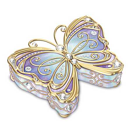 Butterfly Heirloom Porcelain Collectible Music Box with Velvet Lined Storage