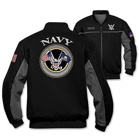 U.S. Navy Salute Personalized Men's Bomber Jacket